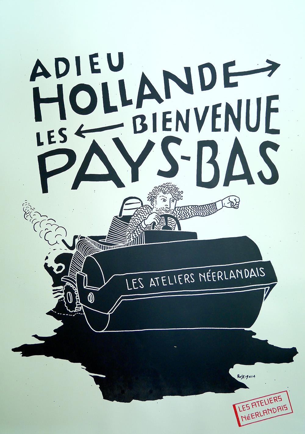 M'n eerste affiche. François Hollande zou weg gaan, en wij kwamen.