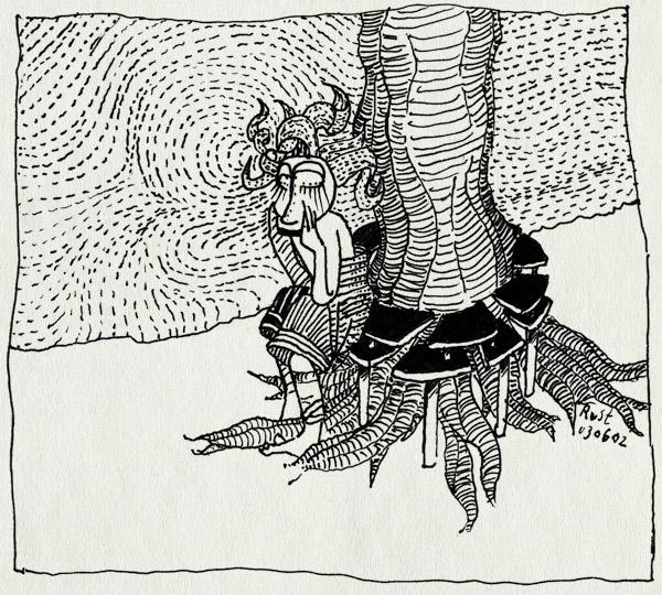 tekening 1, bankje, boom, eerste, koningsplein, observatie, zitten