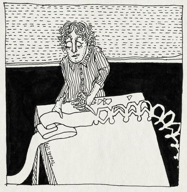 tekening 100, 100, feest, honderd, knippen, monnikenwerk, onpraktisch, papier, poppetjesslinger, slinger
