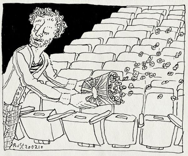 tekening 1010, antisocial, asociaal, bioscoop, gooien, junk, munt, pathe, popcorn, rommel, troep