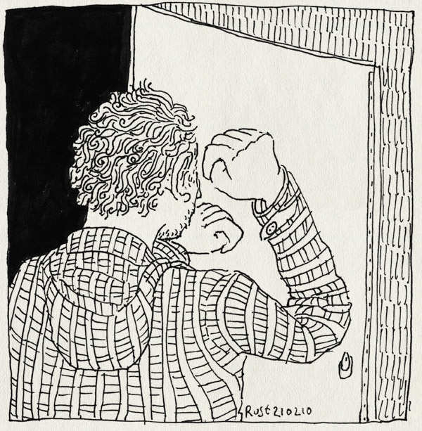 tekening 1011, buitengesloten, deur, door, kloppen, knock, shut out