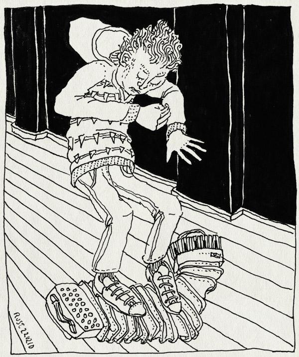 tekening 1012, accordeon, bandoleon, bash, benedenburen, benedenlast, boos, break, geluid, kapot, lawaai, neighbours, onderburen, overlast, sound, stampen, trekharmonica