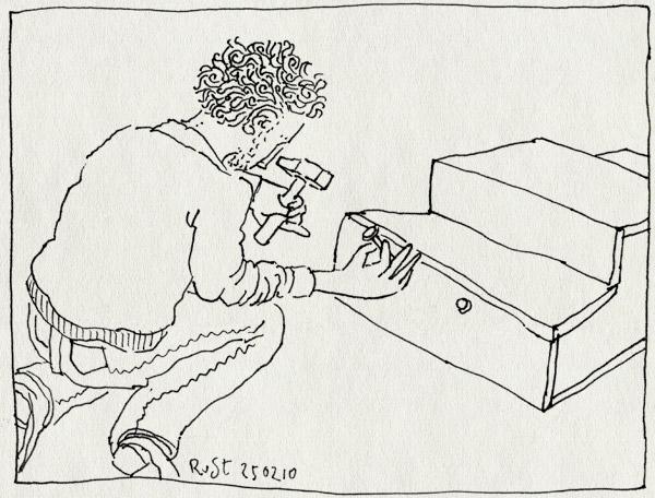 tekening 1015, 1, 2, 3, hamer, hammer, maken, nail, one, podium, spijker, three, two