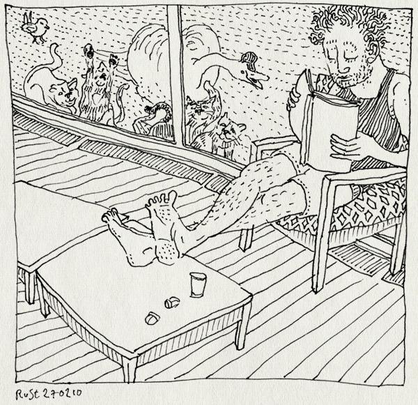 tekening 1017, beestjen, cat, cats, center parks, eemhof, familie, glas, goedhart, huisje, ignore, katten, negeer, pui, relax, rustig, swan, vakantie, vogel, weekendje, weg, zwaan