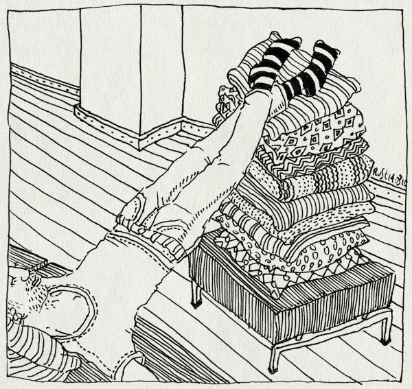 tekening 1032, bank, kussen, kussens, omhoog, ontspannen, relax, ultiem, voetjes