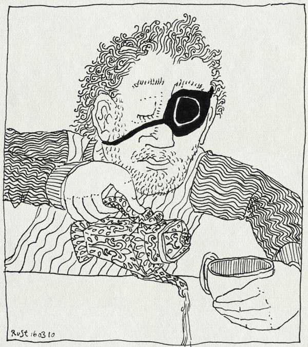 tekening 1034, eenoog, mis, ontstoken, oog, ooglap, oogpijn, piraat, pirate, poor, pour, schenken, tea, thee