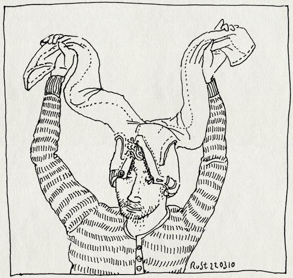 tekening 1040, alwine, broek, hat, head, hoofd, jeans, pants