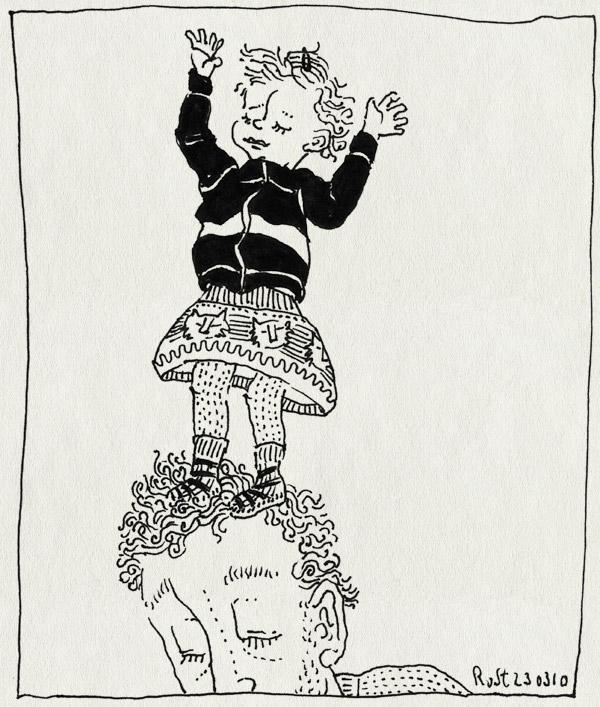 tekening 1041, alwine, eerste keer, hoofd, kop, lief, los, op de nek, rok, staan