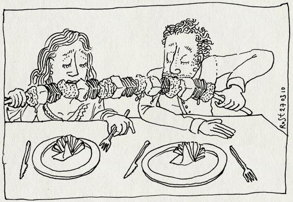 tekening 1045, 10e, bakkum, castricum, het mirakel van bakkum, martine, mirakel, restaurant, slobberstok, spies, vies, vlees