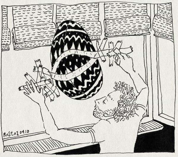 tekening 1051, 2010, burorust, egg, ei2010, eierenactie, hide, layar, maasstraat, occhio, ophangen, pasen, plakband, raam, verstoppen