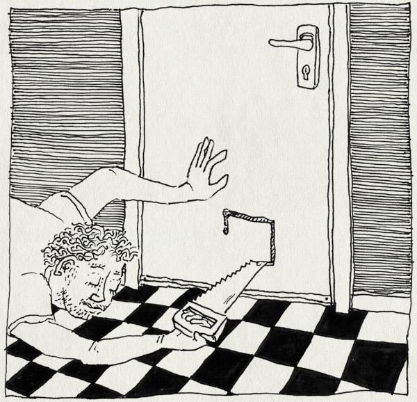 tekening 1057, cat, front door, kattenluikje, saw, tegels, tijger, tiles, vloer, voordeur, weg, zaag, zagen