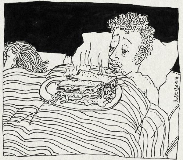 tekening 1062, bah, bed, eten, lasagne, martine, misselijk, nausea, slapen, sleep