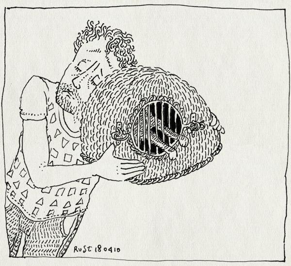 tekening 1067, afscheid, cat, kat, lief, mand, mandje, miss, missen, sad, tijger, tijgertje, verdriet
