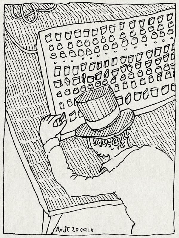 tekening 1069, gijs, hat, hoed, knoppen, mengpaneel, mixpanel, muziekavondje