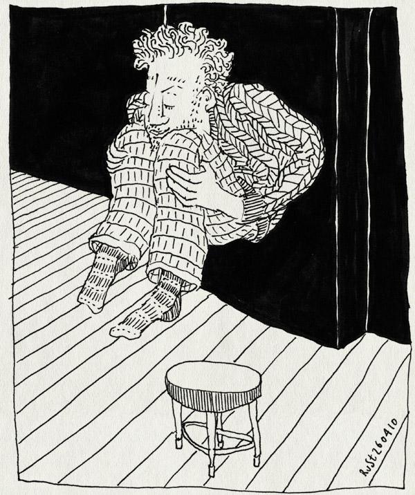 tekening 1075, jump, kapot, kruk, springen, stool