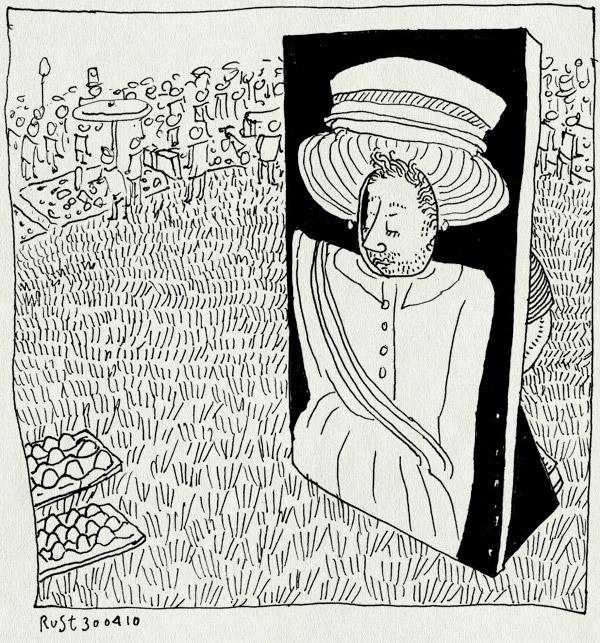tekening 1079, bea, beatrix, eieren gooien, gat, hoofd, koninginnedag, park, queensday, vrijmarkt