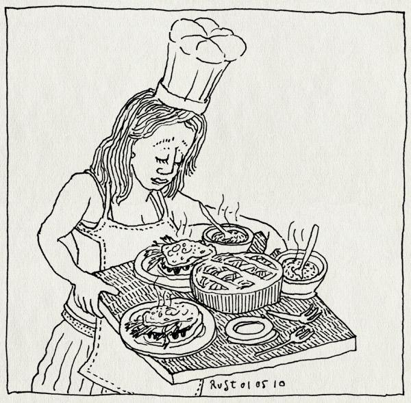 tekening 1080, bakken, coocking, kok, koken, kokkin, koninginnedag, lekker, martine, schort, taart