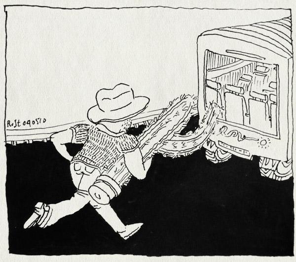 tekening 1083, barcelona, bus, cactus, cowboyhoed, ficomic, jeroen, lamelos, rennen, run, touringcar