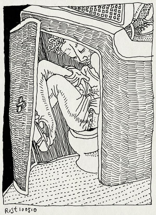 tekening 1089, barcelona, beurs, bus, deur, door, ficomic, holanda, krap, pee, plassen, small, stripbeurs, tiolet, wc, wee