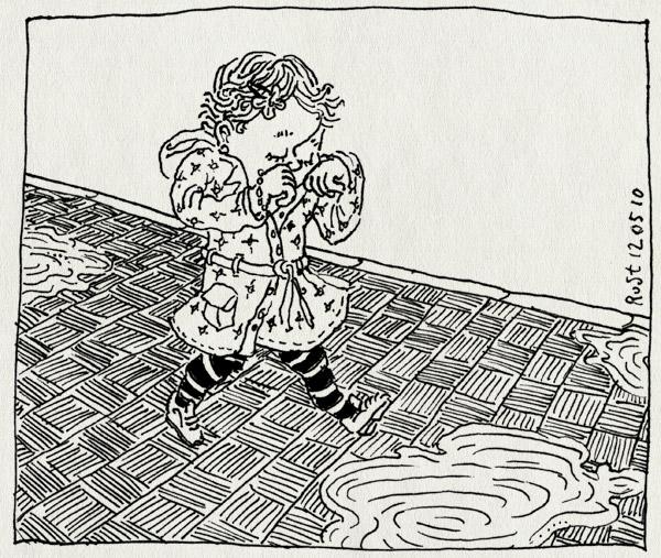 tekening 1091, alwine, buiten, loopt, lopen, plassen, regenjas, sidewalk, steps, stoep, tegels, tiles, walking