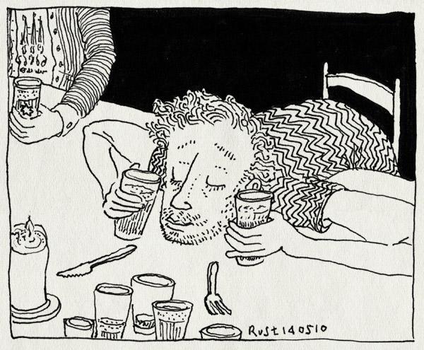 tekening 1093, barcelona, beer, bestek, bier, geen eten, honger, michiel, stripmakers, terzijde