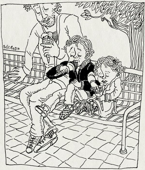tekening 1097, alwine, amsterdam, avondje, bankje, best, beste, gezellig, icecream, ijs, ijsjes, midas, pisa