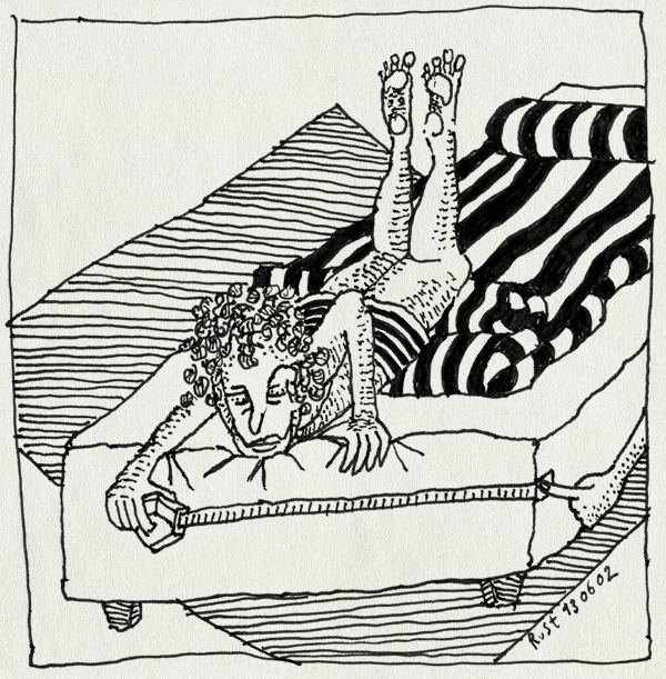 tekening 11, bed, dekbed, krullen, liggen, matras, opmeten, rolmaar