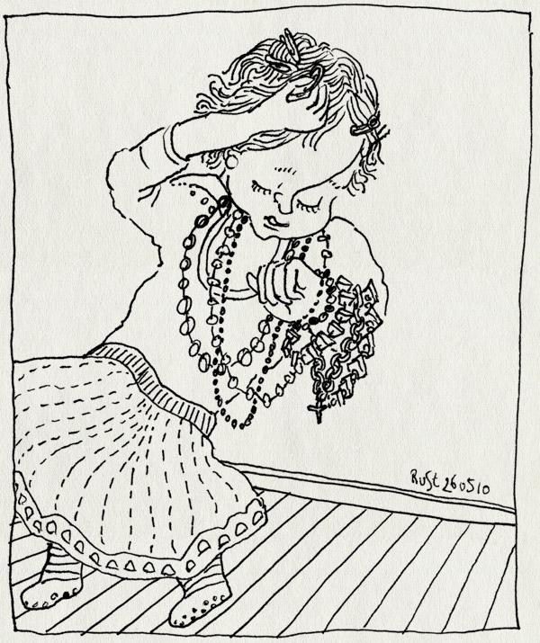 tekening 1105, alwine, armband, bracelet, girl, haarspeldje, ketting, meisje, necklace, tut, tuttebel
