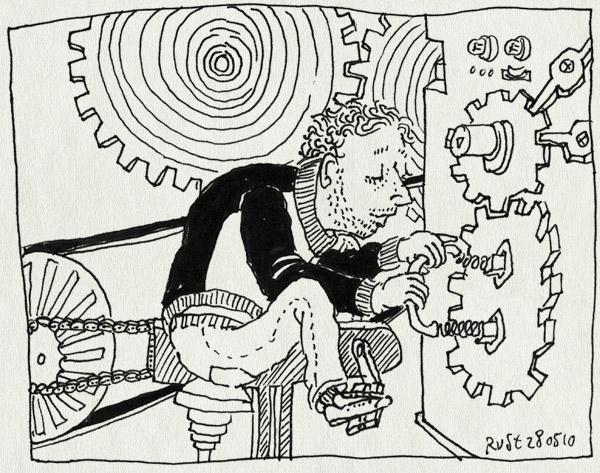 tekening 1107, burorust, fiets, ketting, machine, raderen, tandwielen