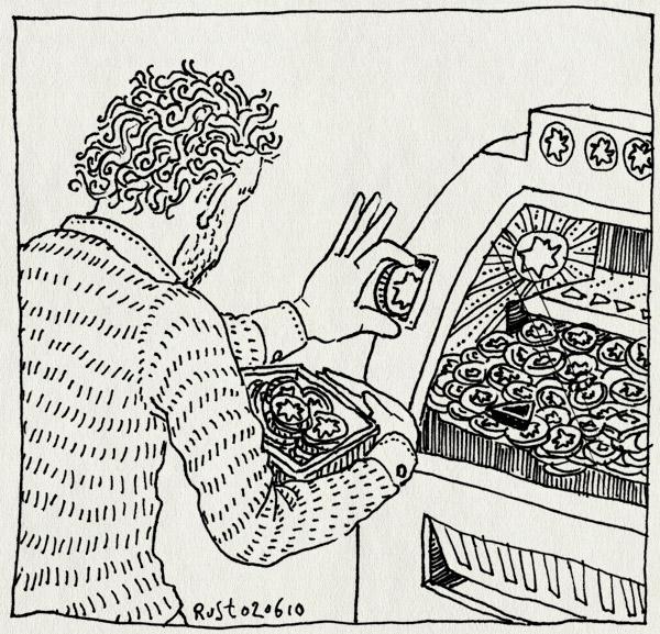 tekening 1112, app, automaat, bak, coin dozer, gambling, geld, gokken, iphone, kermis, muntjes