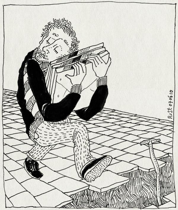 tekening 1117, kuil straat, pizza, pizzadozen, sand, schep, schop, shovel, spade, stoep, stoeptegels, tegels, tiles, wegwerkzaamheden, werk in uitvoering, zand