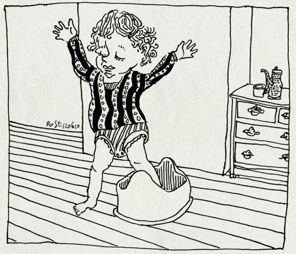 tekening 1122, alwine, maasstraat, one foot, pot, potje, potti, probeersel, romper, zindelijk