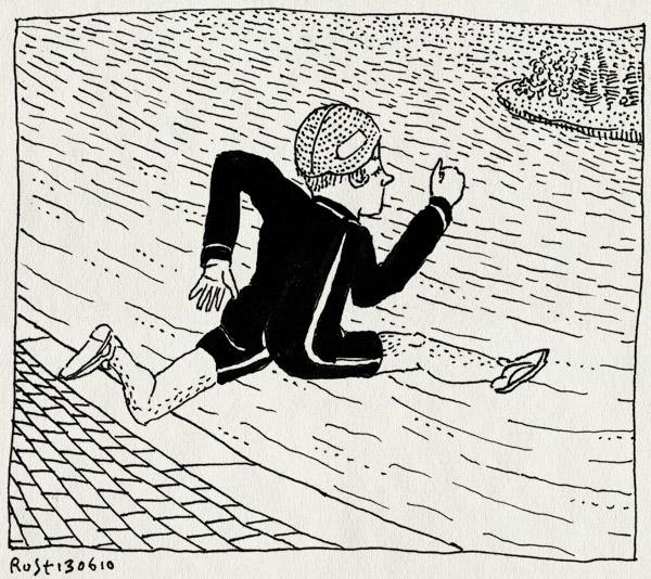 tekening 1123, amsterdam, badmuts, michel, plons, rennen, sloterplas, triatlon, zwempak