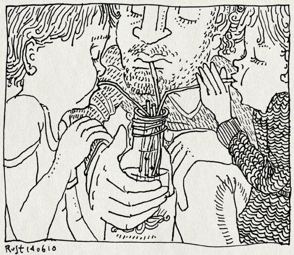 tekening 1124, alwine, artis, bottle, drink, drinken, flesje, midas, rietje, rietjes, samen, straw, straws, warm, water
