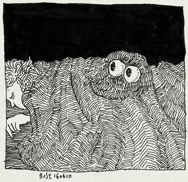 tekening 1126, beast, bed, beesie, beesie cap, dark, dekbed, donker, eng, eyes, midas, ogen, oranje, pet, scary, wk2010