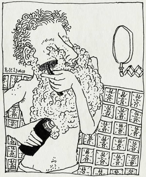 tekening 1133, mirror, natscheren, reclame, scheerschuim, scheren, shave, spiegel, tegels, tiles