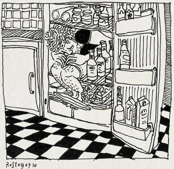 tekening 1149, fridge, heat, heet, hittegolf, ijskast, koelkast, refrigerator, verkoeling, warm, zomer