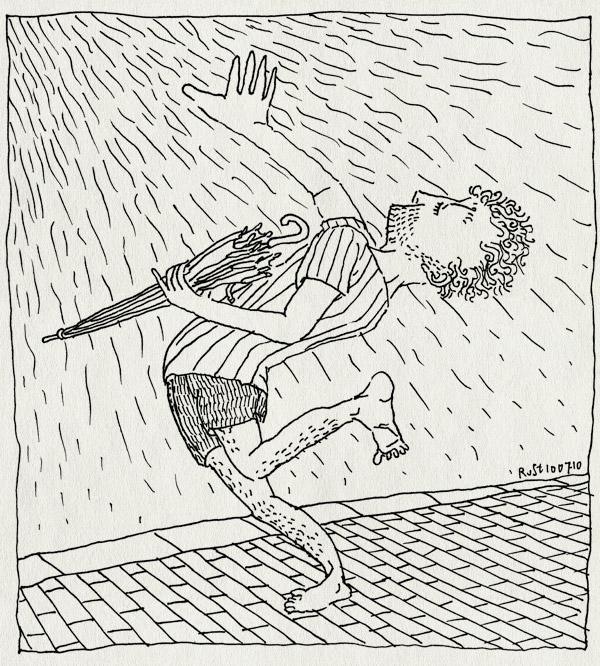 tekening 1150, paraplu, rain dance, regendans, stoep, umbrella, warm, warmte