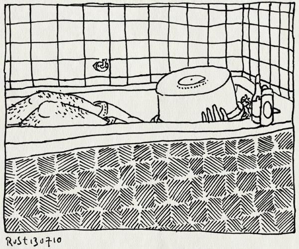 tekening 1153, bad, bath, hide and seek, midas, tegels, teiltje, tiles, verstoppertje