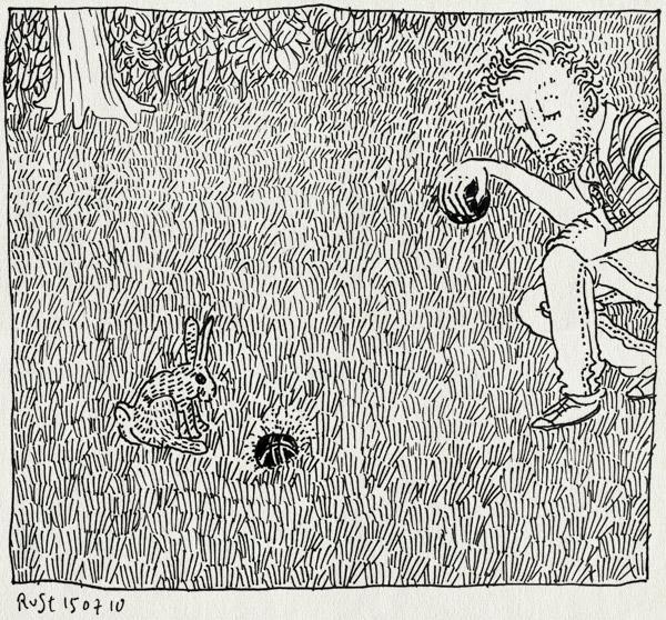tekening 1155, bal, ball, gras, grass, jeu de boules, konijn, petangue, rabbit