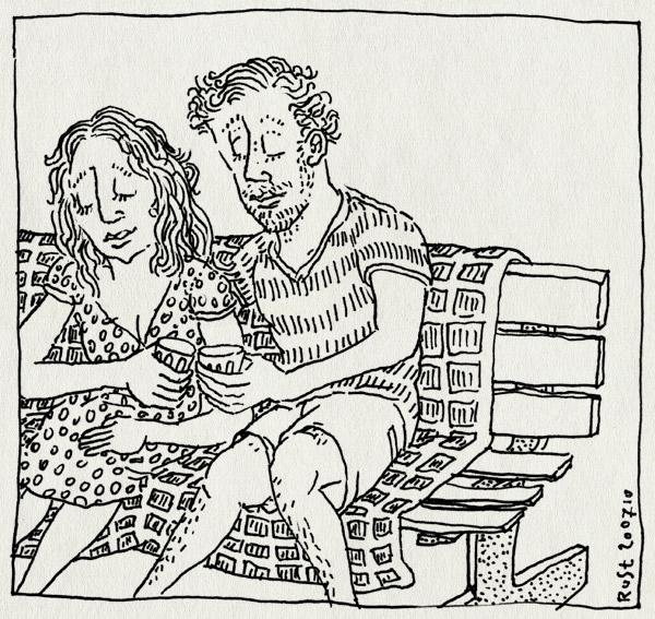 tekening 1160, 10e, 10inc, bankje, beatrixpark, kijken, martine, park, picknick, picknickkleed, proosten, wijn