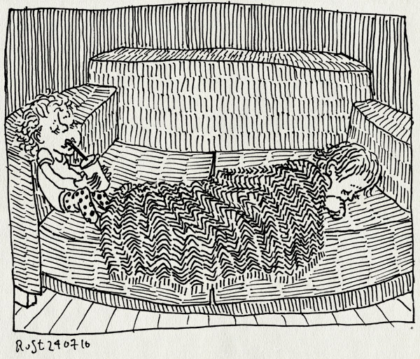 tekening 1164, alwine, bank, blanket, dekentje, drinkbeker, drinken, fever, ill, koorts, midas, slapen, sleep, sofa, ziek, ziekjes