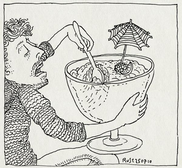 tekening 1165, 24, antiroos, big, desert, eat, eten, groot, jarig, robbert, roosmarijn, toetje, trifle