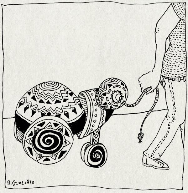 tekening 1173, hout, jim woodring, speelgoed, touw, toy, trekeend, willemijn