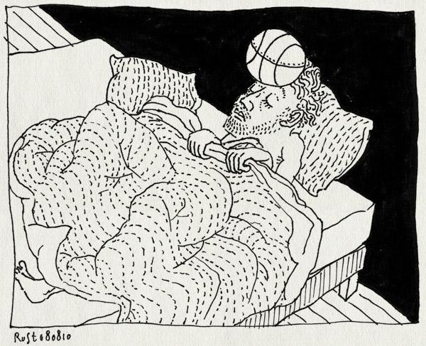 tekening 1179, basketball, bed, dekbed, dekens, headache, hofdpijn, ill, koppijn, ziek