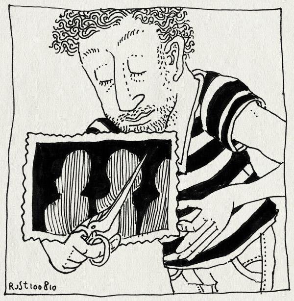 tekening 1181, cut, foto, knippen, oude doosch, photo, schaar, scissors