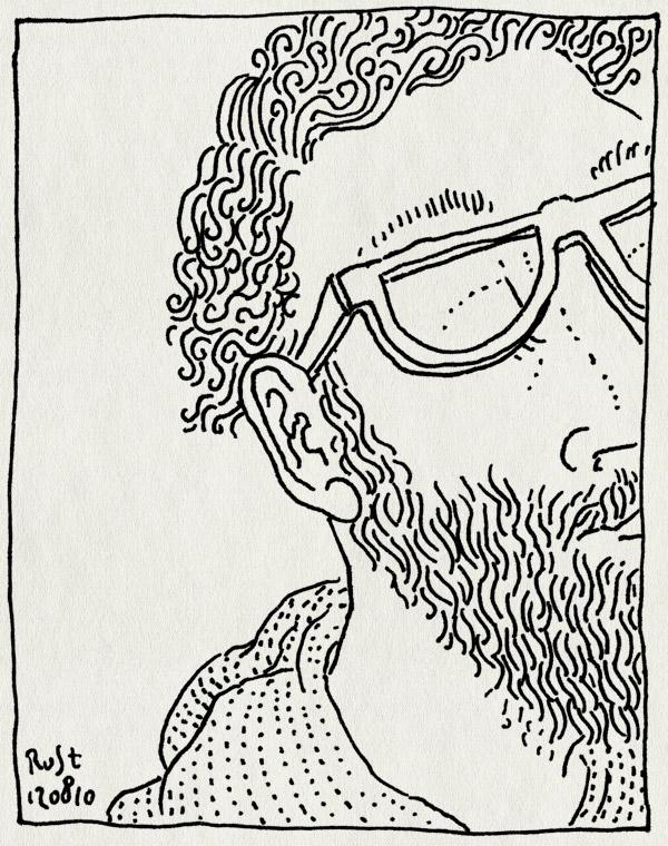 tekening 1183, baard, beard, bril, glasses, man, recensiekoning, snor