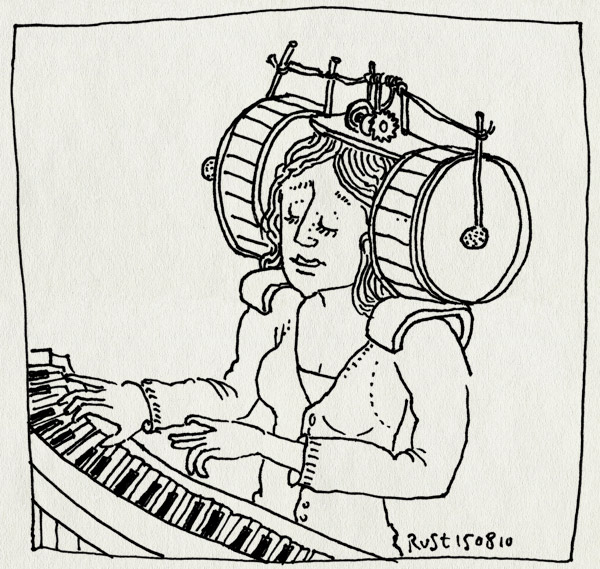 tekening 1186, cadeau, drums, hoofdpijn, jarig, kater, martine, piano, pms, trommels
