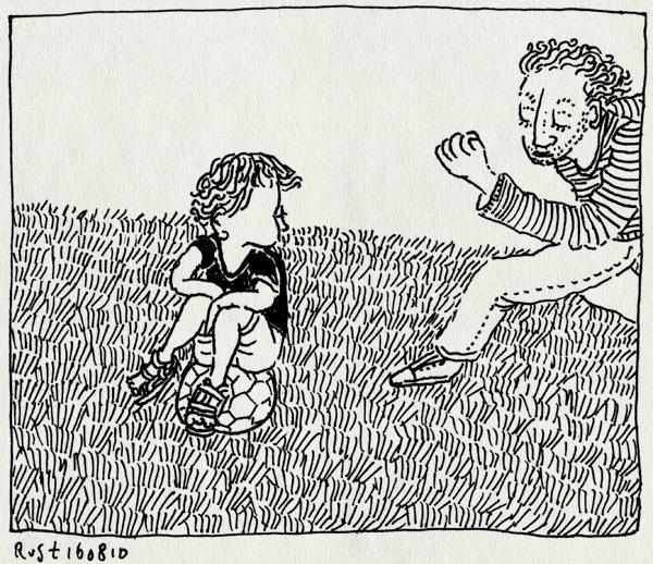 tekening 1187, amsterdamse bos, bal, bos, ei, gras, grass, midas, voetbal. voetballen, zitten