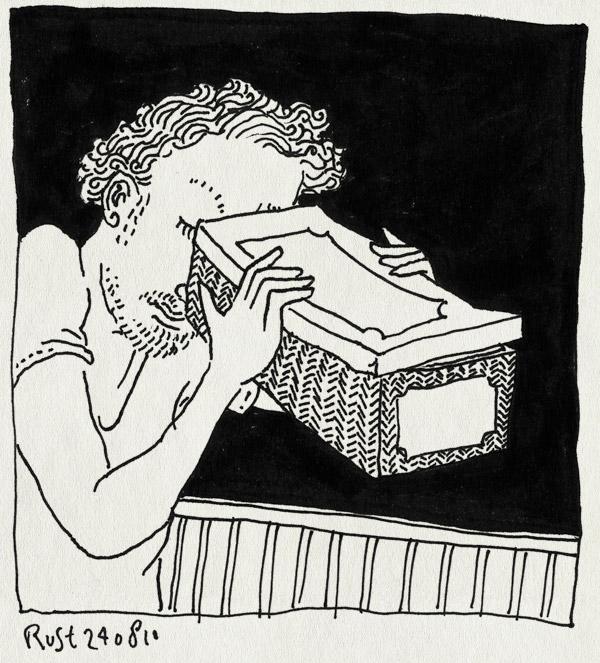 tekening 1195, etiket, geschiedenis, kijkdoos, kijken, label, look, oude doos